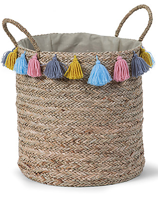 Childwood Basket Straw Woven Round Basket with Tassels, 40 cm diameter Toy Storage Boxes