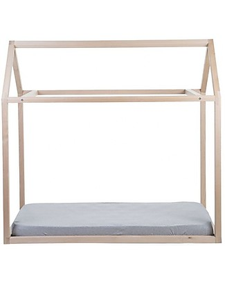 Childwood Bed Frame House Natural, Beech Wood - 70 x 140 cm Single Bed