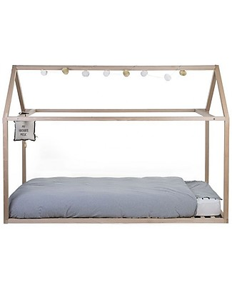 Childwood Bed Frame House Natural, Beech Wood - 90 x 200 cm Single Bed