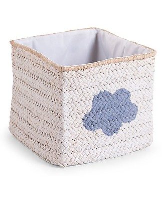 Childwood Box Straw Woven Basket, White with Cloud and Star – 30x30x33 cm Toy Storage Boxes