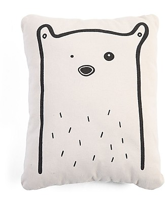 Childwood Canvas Cushion Bear, White - 28 x 10 x 35 cm Cushions