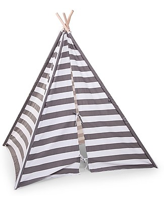 Childwood Canvas Play Tipi Tent, White/Grey stripes – Complete with its own storage bag! Tepees & Tents