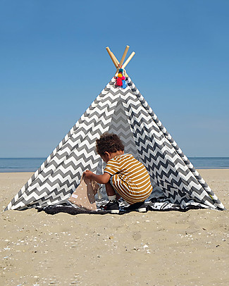 Childwood Canvas Play Tipi Tent, White/Grey Zig Zag – Complete with its own storage bag! Tepees & Tents