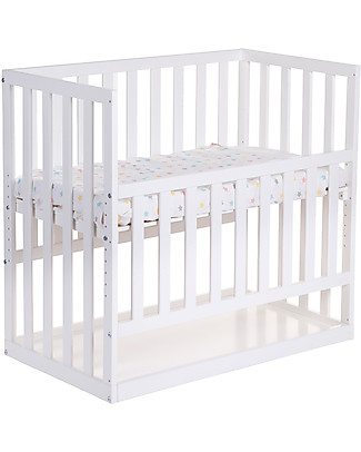 Childwood Co-sleeping Bedside Crib with Wheels, 90x50 cm, Beech Wood, White - Ideal next to the parents' bed! Cots & Cotbeds