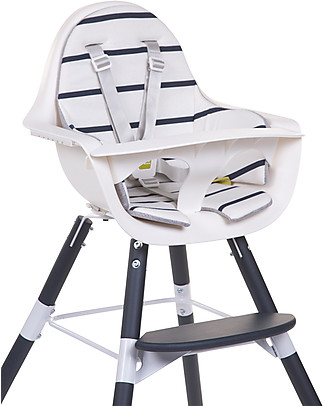 Childwood Cushion for Evolutive High Chair Evolu 2 Chair, White/Navy Stripes - 100% Cotton Jersey High Chairs