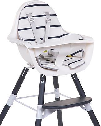 Childwood Cushion for Evolutive High Chair Evolu 2 Chair, White/Navy Stripes - 100% Cotton Jersey High Chairs