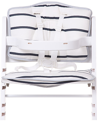 Childwood Cushion for Evolutive High Chair Lambda 2 and 3, White/Navy stripes - 2-pieces set, 100% cotton jersey High Chairs