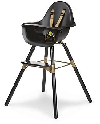 Childwood Evolu 2 Chair, Evolutive High Chair and Kids Chair, Black/Gold – 6 months to 6 years High Chairs