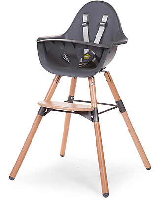 Childwood Evolu 2 Chair, Evolutive High Chair + Kids Chair, Anthracite/Wood - 6 months to 6 years High Chairs