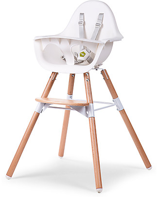 Childwood Evolu 2 Chair, Evolutive High Chair + Kids Chair, White/Wood - 6 months to 6 years High Chairs