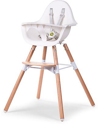 Childwood Evolu 2 Chair, Evolutive High Chair + Kids Chair, White/Wood - 6 months to 6 years High Chairs
