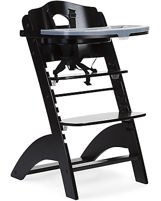 Childwood Evolutive Wooden High Chair Lambda 2, Black - It becomes a normal chair! High Chairs