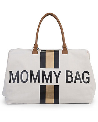 Childwood Mommy Bag, Diaper Bag 55 x 30 x 30 cm, Black/Gold Stripes - Includes foldable changing mat! Diaper Changing Bags & Accessories