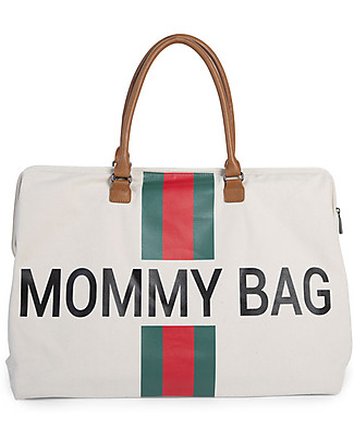 Childwood Mommy Bag, Diaper Bag 55 x 30 x 30 cm, Green/Red Stripes - Includes foldable changing mat! Diaper Changing Bags & Accessories