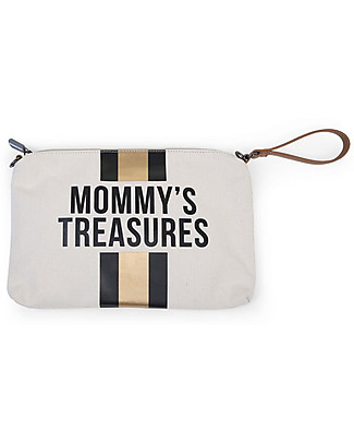Childwood Mommy Treasures, Clutch Bag 33 x 23 x 3 cm, Black/Gold Stripes Diaper Changing Bags & Accessories