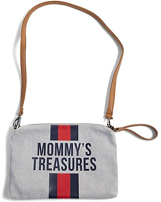 Childwood Mommy Treasures, Clutch Bag 33 x 23 x 3 cm, Blue/Red Stripes Makeup Bags & Pouches
