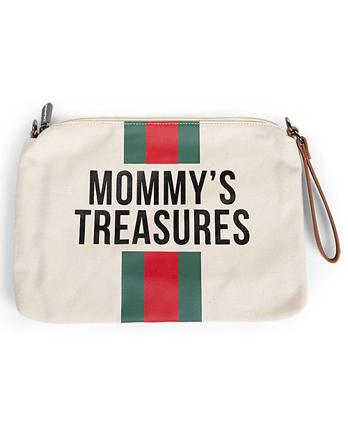 Childwood Mommy Treasures, Clutch Bag 33 x 23 x 3 cm, Green/Red Stripes Diaper Changing Bags & Accessories