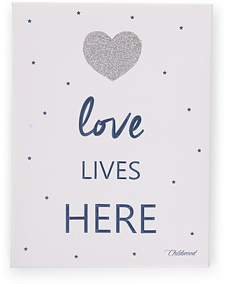 "Childwood Oil Painting ""Love Lives Here"", Blue Navy - 30x40 cm Room Decorations"