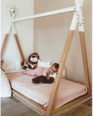 Childwood Tipi Cot Bed Frame, Beech Wood - 140x70 cm Montessori Beds