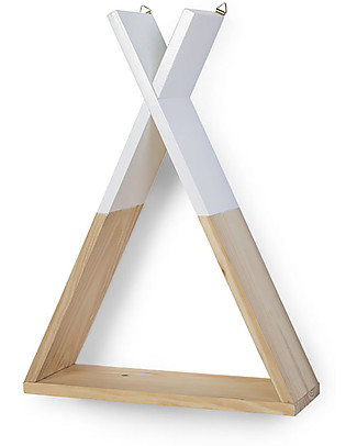 Childwood Wall Shelf Tipi 35 x 12 x 47 cm, Wooden + White - Beech wood Shelves