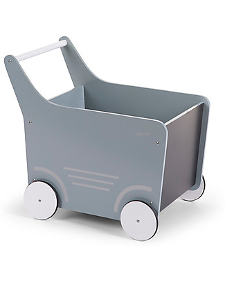 Childwood Wooden Stroller, Mint Blue - Ideal for your toddler's first steps! Toy Storage Boxes