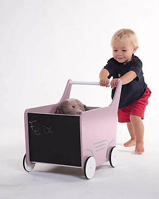 Childwood Wooden Stroller, Soft Pink - Ideal for your toddler's first steps! Toy Storage Boxes
