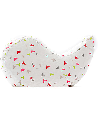 Cocò&Design Ergonomic Pillow Cuscilino, Fantasy Peach - 40x40x12 cm - Linen and  organic chaff Cushions