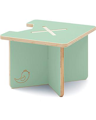 Cocò&Design Modular Stool and Small table Lapo, Green Apple - 40x40x30 cm - Poplar wood null