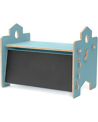 Cocò&Design Rigo Desk with Blackboard Backdrop, Mulberry Blue - 90x53x50 cm - Poplar wood Tables And Chairs
