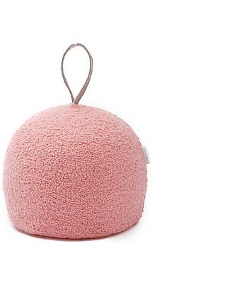 Cocò&Design Round Pouf Coccola, Peach - 30x30x30 cm - Wool and spelled organic chaff Cushions