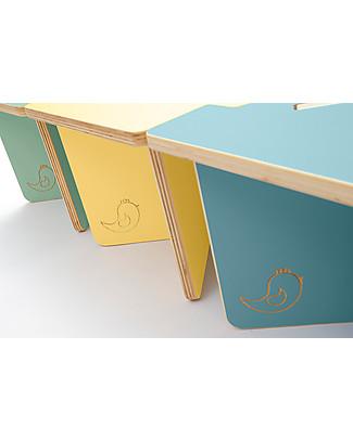 Cocò&Design Set of 3 Modular Stool and Small table Lapo,  Blue/Yellow/Green - 40x40x30 cm - Poplar wood Chairs