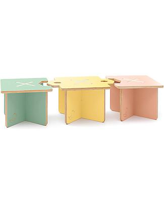 Cocò&Design Set of 3 Modular Stool and Small table Lapo, Pink/Yellow/Green - 40x40x30 cm - Poplar wood Chairs
