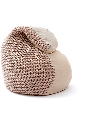 Cocò&Design Soft Pouf Bag Nuvolana, Cream - 80×60x20 cm - Wool, ramiè-flax and organic chaff null
