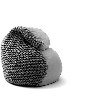 Cocò&Design Soft Pouf Bag Nuvolana, Dark Mulberry - 80×60x20 cm - Wool, ramiè-flax and organic chaff Cushions