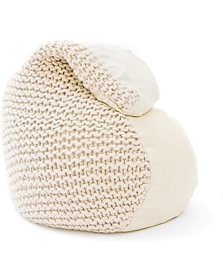 Cocò&Design Soft Pouf Bag Nuvolana, Oats - 80×60x20 cm - Wool, ramiè-flax and organic chaff Cushions