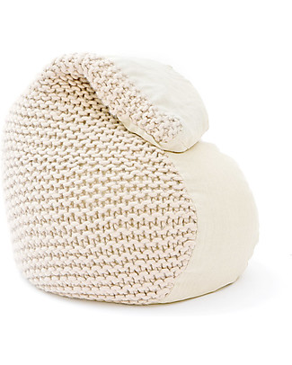Cocò&Design Soft Pouf Bag Nuvolana, Oats - 80×60x20 cm - Wool, ramiè-flax and organic chaff null