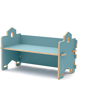 Cocò&Design Stackable Bookcase and Baby Bench Cecco, Mulberry Blue - 82×40x30 cm - Poplar wood Bookcases