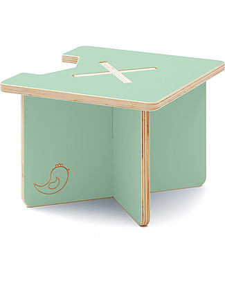 Cocò&Design Modular Stool and Small table Lapo, Green Apple - 40x40x30 cm - Poplar wood null