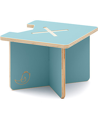 Cocò&Design Modular Stool and Small table Lapo,  Mulberry Blue - 40x40x30 cm - Poplar wood null