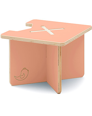 Cocò&Design Modular Stool and Small table Lapo, Peach - 40x40x30 cm - Poplar wood null