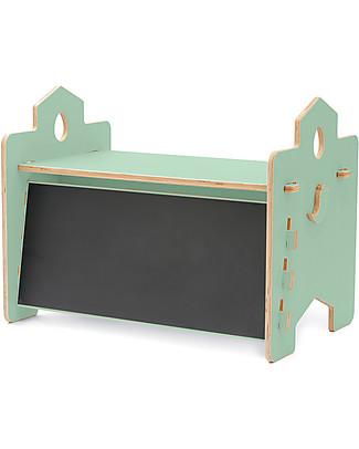 Cocò&Design Rigo Desk with Blackboard Backdrop, Green Apple - 90x53x50 cm - Poplar wood Tables And Chairs