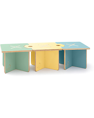 Cocò&Design Set of 3 Modular Stool and Small table Lapo,  Blue/Yellow/Green - 40x40x30 cm - Poplar wood null