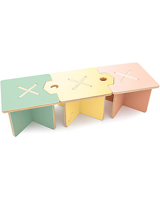 Cocò&Design Set of 3 Modular Stool and Small table Lapo, Pink/Yellow/Green - 40x40x30 cm - Poplar wood Chairs