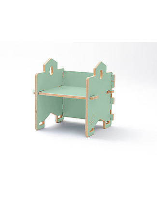 Cocò&Design Stackable Bookcase and Chair Bice, Green Apple - 45x45x30 cm - Poplar wood Bookcases