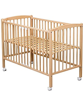 Combelle Arthur, Solid Beech Wood Cot with Wheels, 60 x 120 cm – Natural Cots & Cotbeds