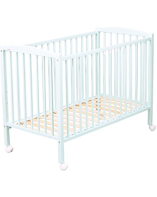 Combelle Arthur, Solid Beech Wood Cot with Wheels, 60 x 120 cm – White Cots & Cotbeds