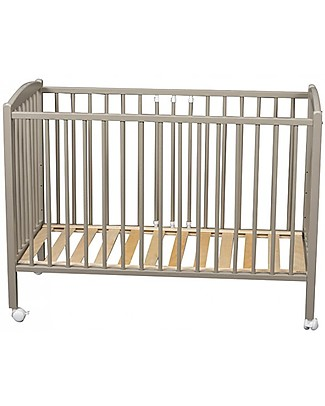Combelle Arthur, Solid Beech Wood Cot with Wheels, 60 x 120 cm - Light Grey Cots & Cotbeds