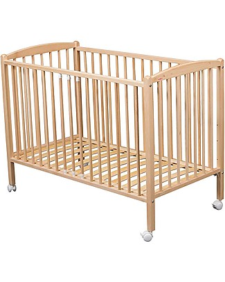 Combelle Arthur, Solid Beech Wood Cot with Wheels, 60 x 120 cm - Natural Cots & Cotbeds