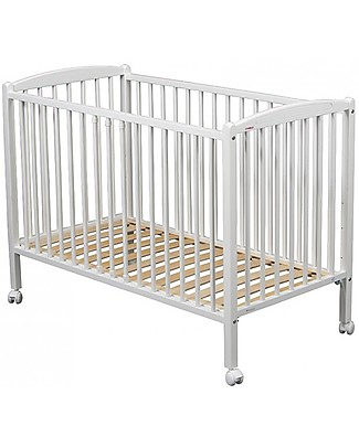 Combelle Arthur, Solid Beech Wood Cot with Wheels, 60 x 120 cm - White Cots & Cotbeds