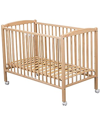 Combelle Arthur, Solid Beech Wood Cot with Wheels, 70 x 140 cm – Natural Cots & Cotbeds
